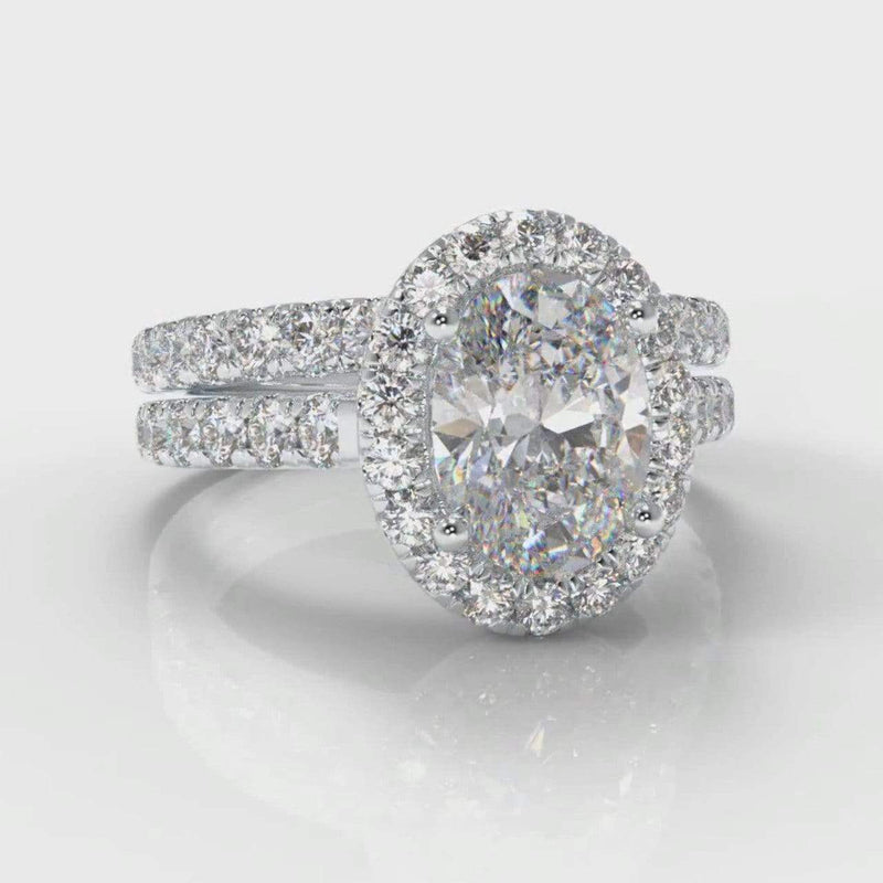 Castle Halo Oval Lab Diamond Bridal Ring Set