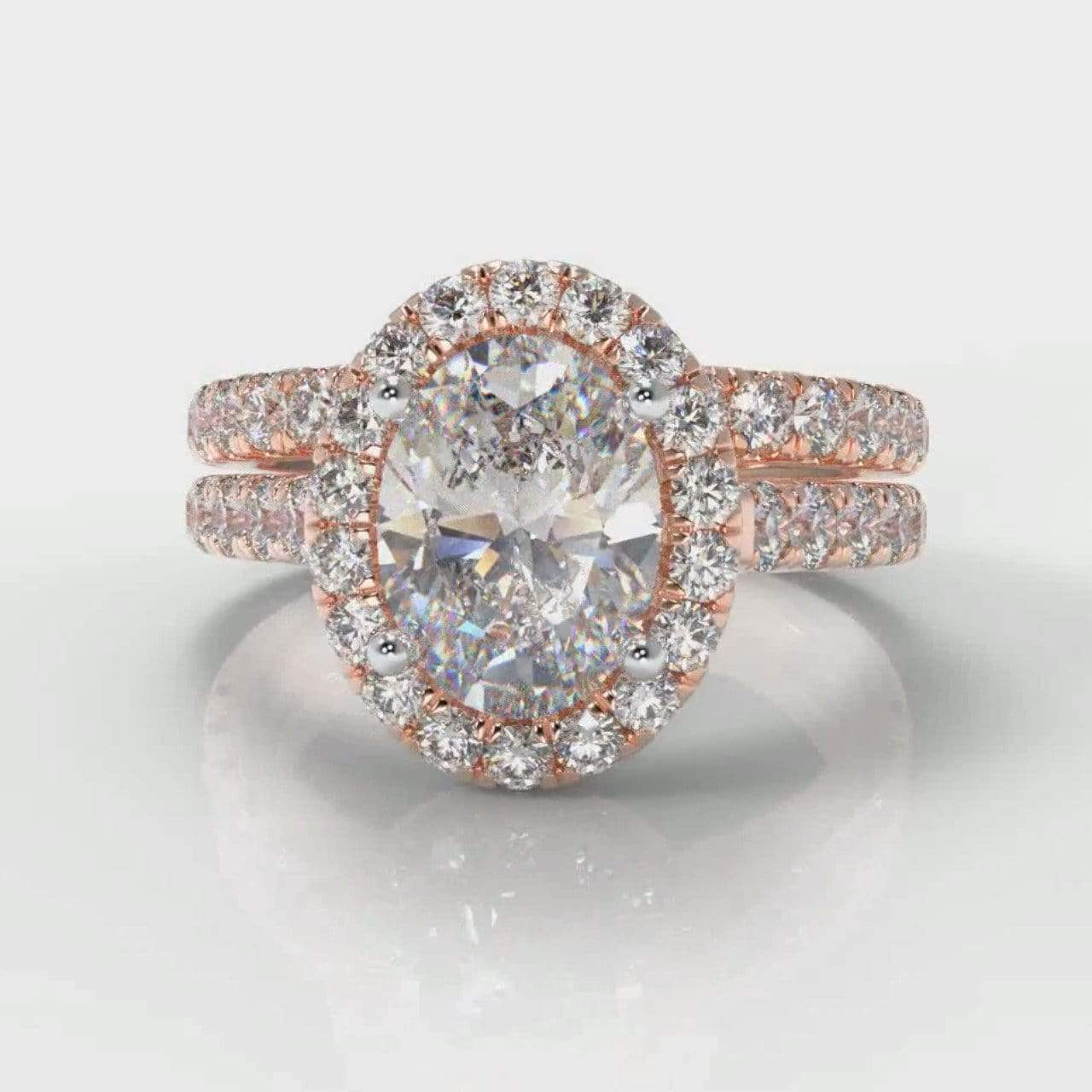 Castle Halo Oval Lab Diamond Bridal Ring Set - Rose Gold-Ring Setting-Pure Carats-Pure Carats