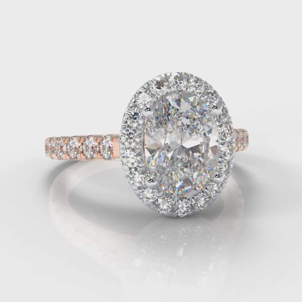 Castle Halo Oval Lab Diamond Engagement Ring - Two Tone Rose Gold-Ring Setting-Pure Carats-Pure Carats