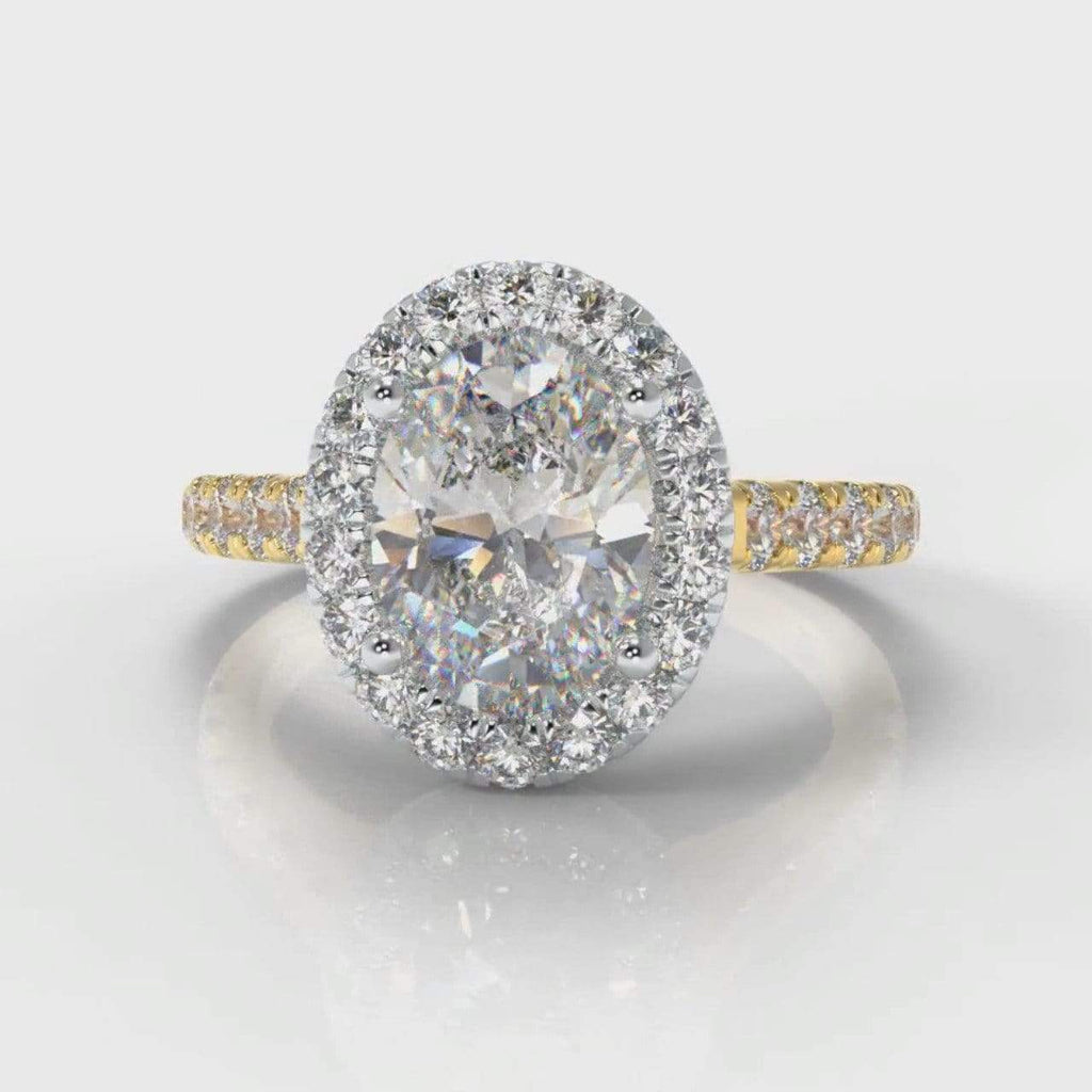 Castle Halo Oval Lab Diamond Engagement Ring - Two Tone Yellow Gold-Ring Setting-Pure Carats-Pure Carats