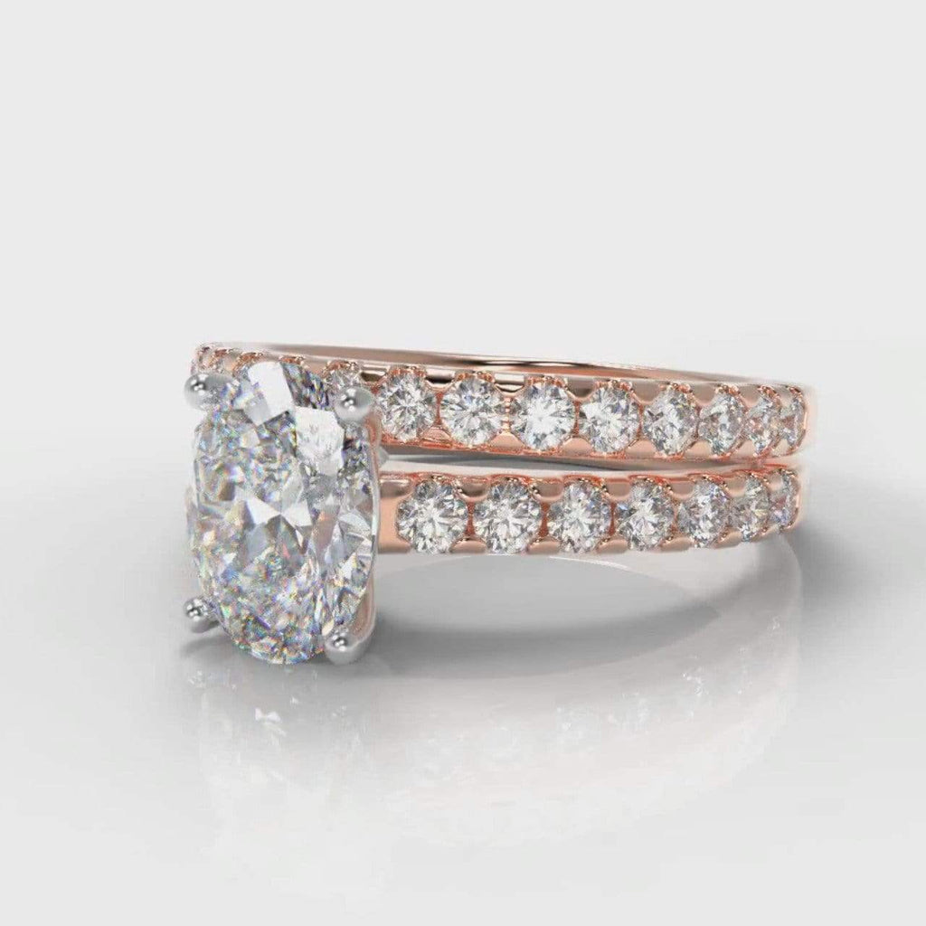 Castle Oval Lab Diamond Bridal Ring Set - Rose Gold-Ring Setting-Pure Carats-Pure Carats