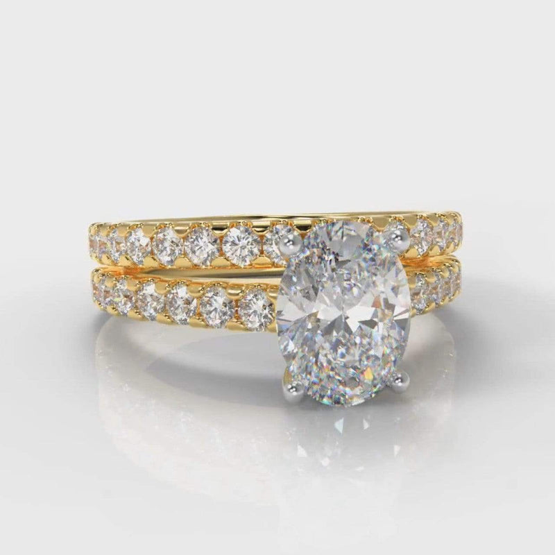 Castle Oval Lab Diamond Bridal Ring Set - Yellow Gold