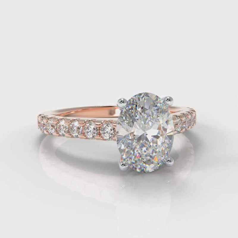Castle Oval Lab Diamond Engagement Ring - Rose Gold-Ring Setting-Pure Carats-Pure Carats