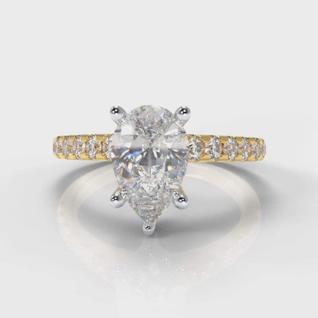 Castle Pear Shaped Lab Diamond Engagement Ring - Yellow Gold-Ring Setting-Pure Carats-Pure Carats