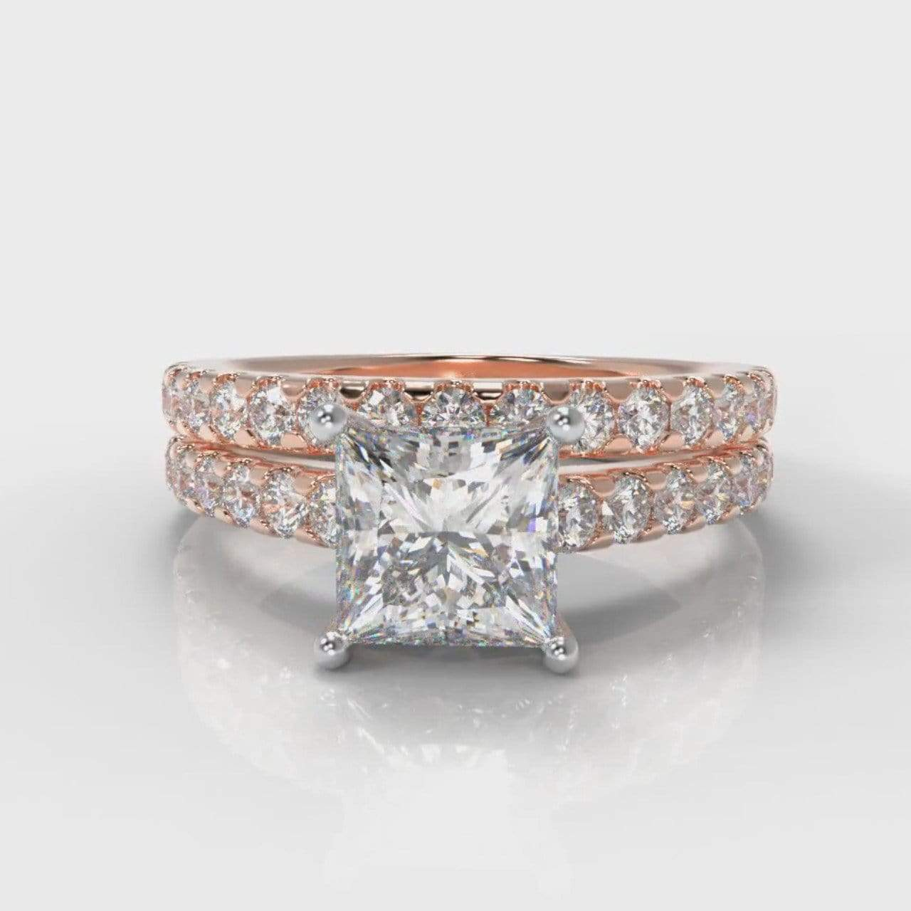 Castle Princess Cut Lab Diamond Bridal Ring Set - Rose Gold-Ring Setting-Pure Carats-Pure Carats