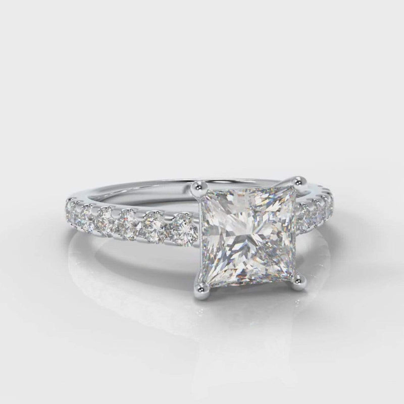 Castle Princess Cut Lab Diamond Engagement Ring-Ring Setting-Pure Carats-Pure Carats