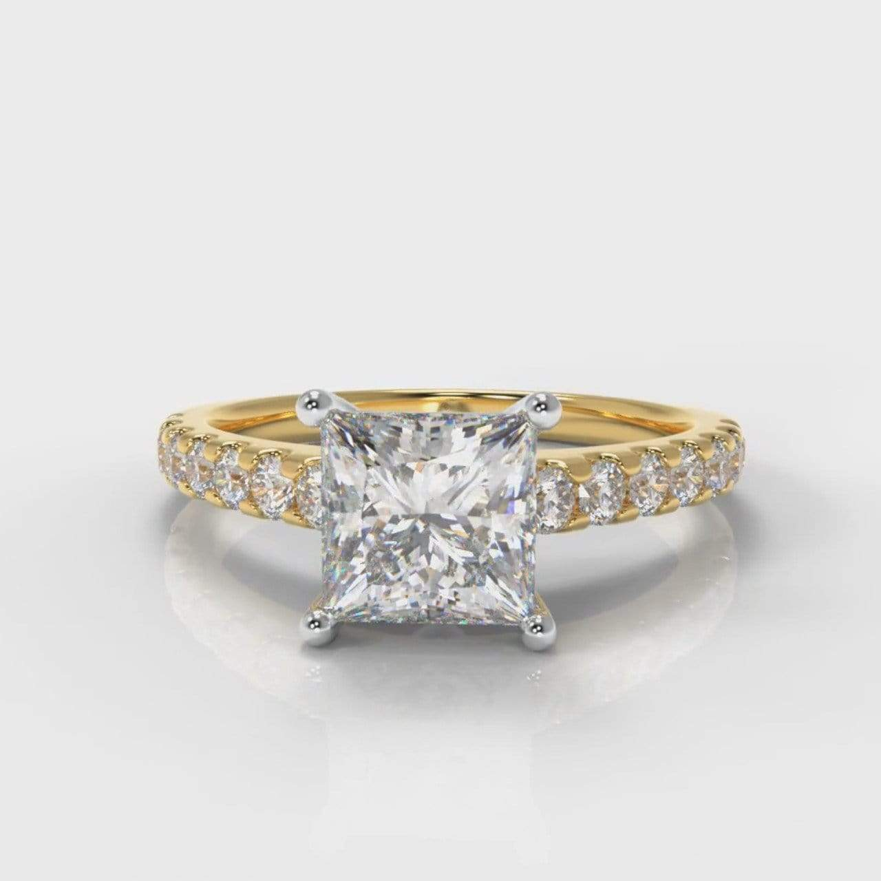 Castle Princess Cut Lab Diamond Engagement Ring - Yellow Gold-Ring Setting-Pure Carats-Pure Carats