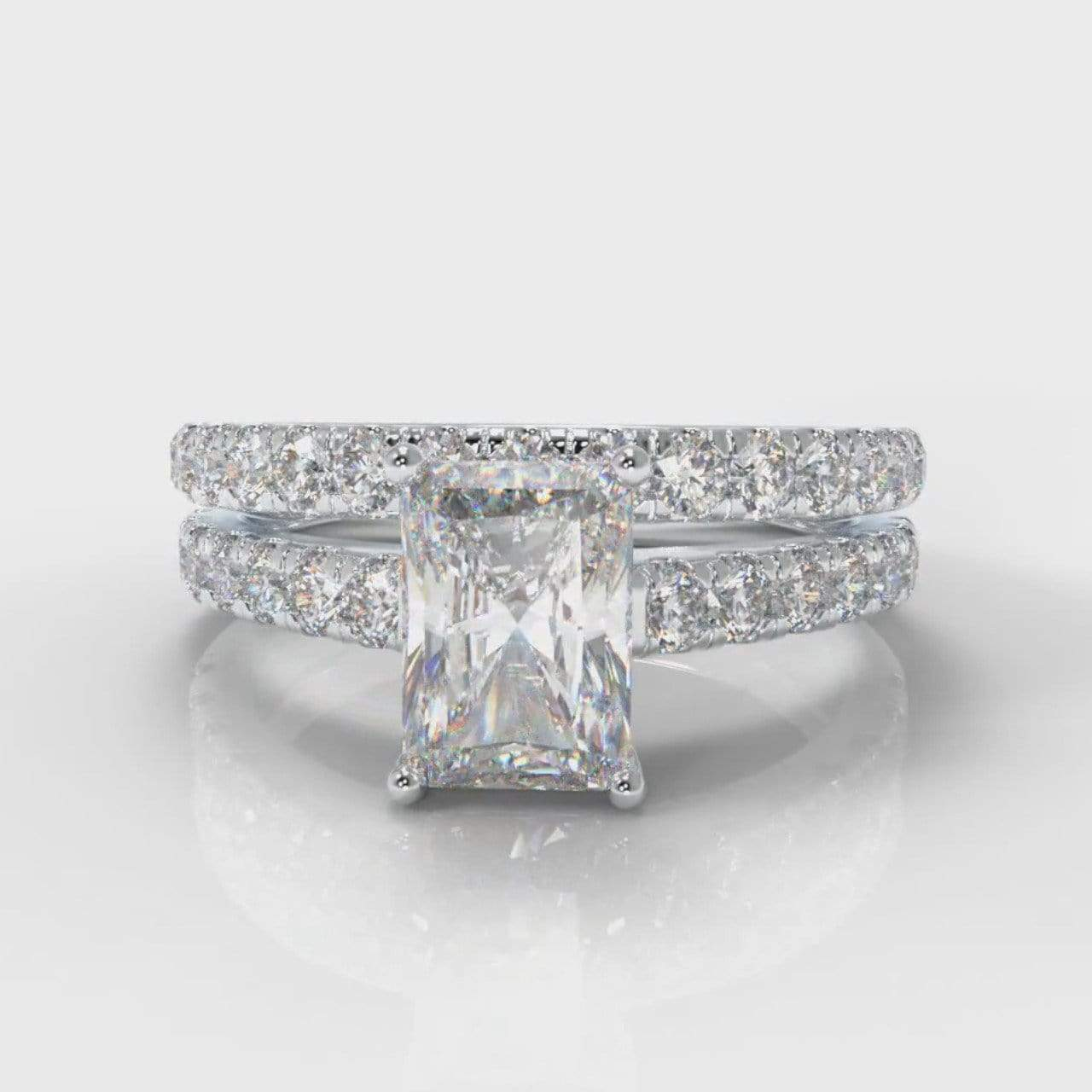 Castle Radiant Cut Lab Diamond Bridal Ring Set-Ring Setting-Pure Carats-Pure Carats