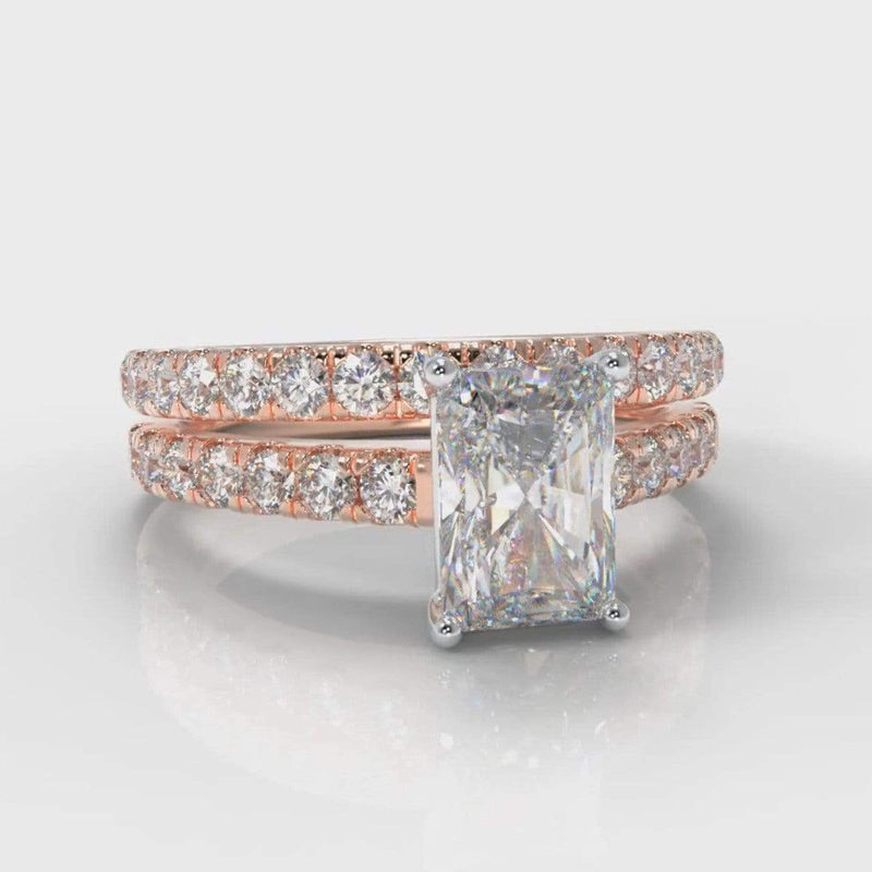 Castle Radiant Cut Lab Diamond Bridal Ring Set - Rose Gold-Ring Setting-Pure Carats-Pure Carats
