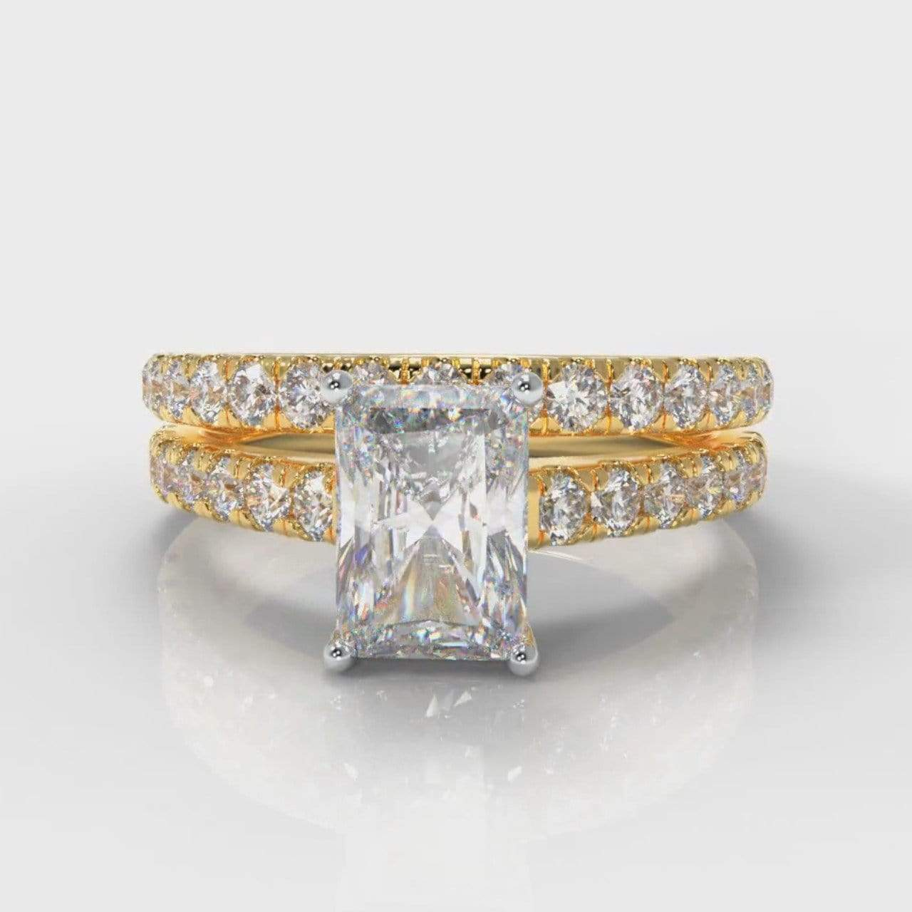 Castle Radiant Cut Lab Diamond Bridal Ring Set - Yellow Gold-Ring Setting-Pure Carats-Pure Carats