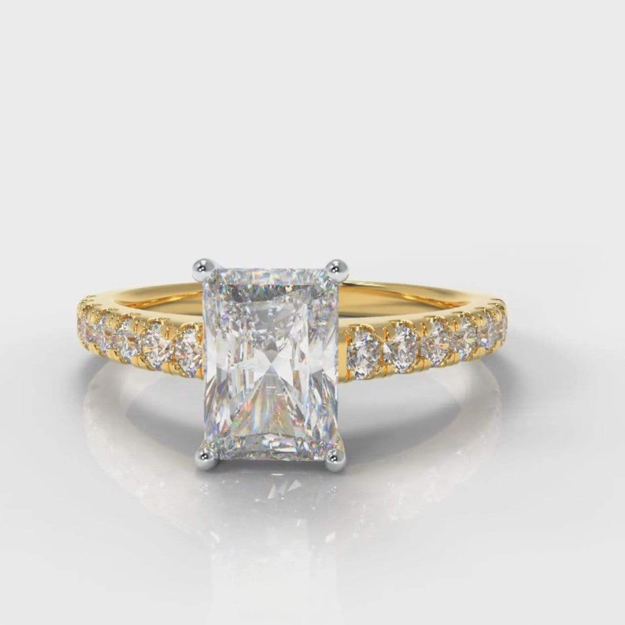Castle Radiant Cut Lab Diamond Engagement Ring - Yellow Gold-Ring Setting-Pure Carats-Pure Carats
