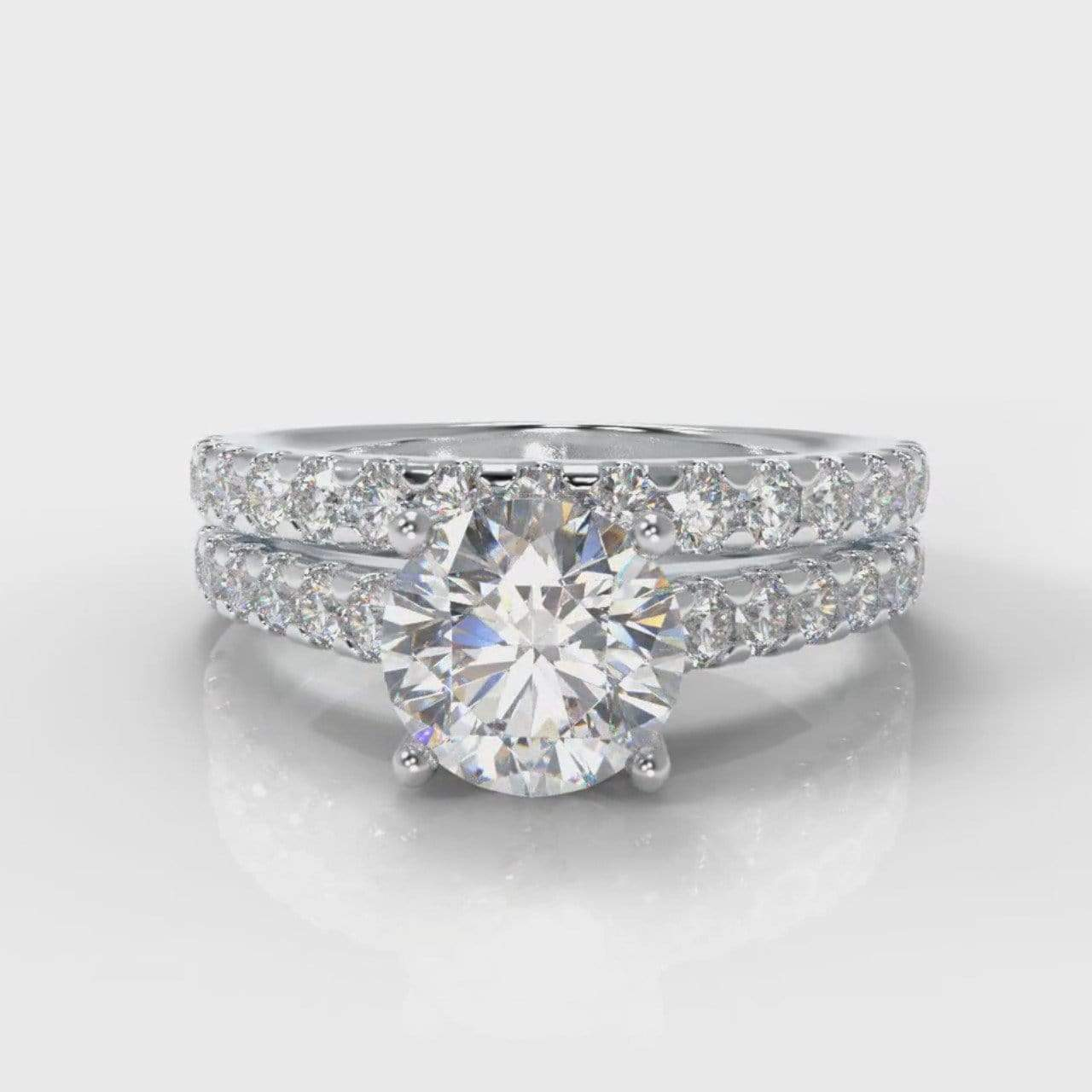Castle Round Brilliant Cut Lab Diamond Bridal Ring Set-Ring Setting-Pure Carats-Pure Carats