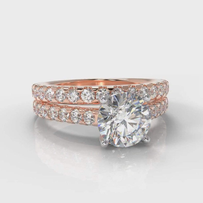 Castle Round Brilliant Cut Lab Diamond Bridal Ring Set - Rose Gold-Ring Setting-Pure Carats-Pure Carats
