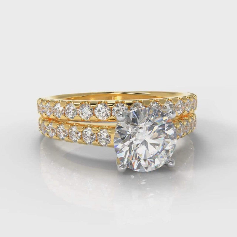 Castle Round Brilliant Cut Lab Diamond Bridal Ring Set - Yellow Gold-Ring Setting-Pure Carats-Pure Carats