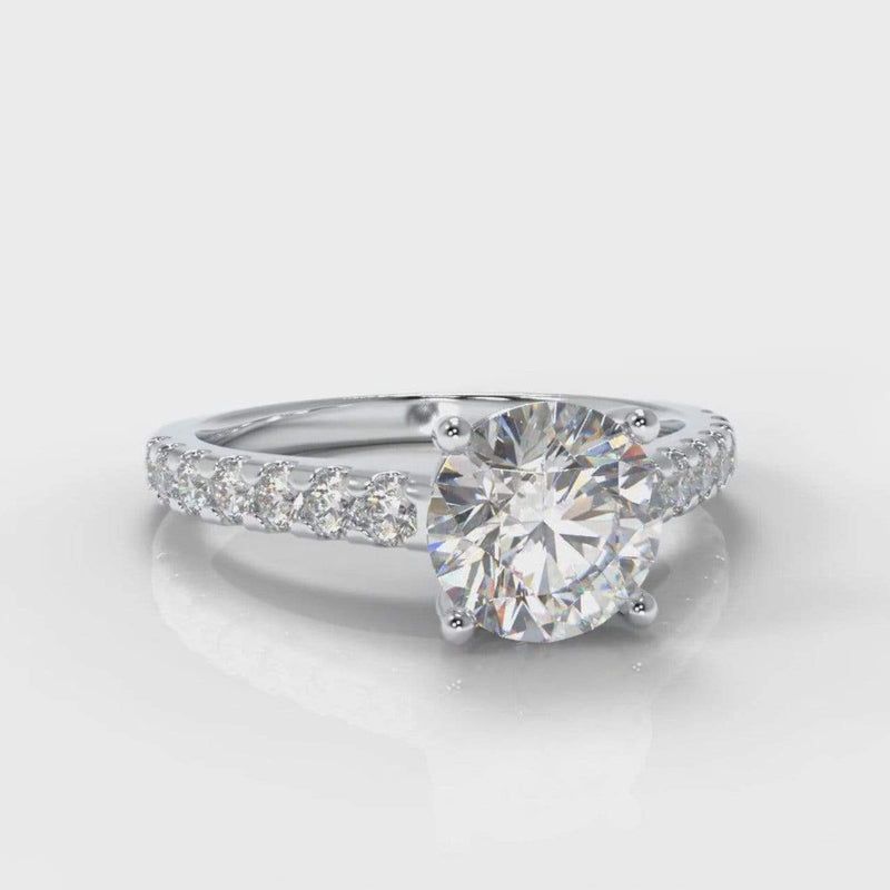 Castle Round Brilliant Cut Lab Diamond Engagement Ring-Ring Setting-Pure Carats-Pure Carats