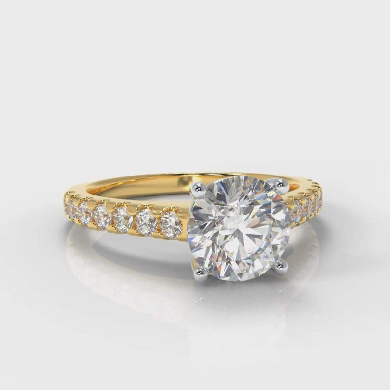 Castle Round Brilliant Cut Lab Diamond Engagement Ring - Yellow Gold-Ring Setting-Pure Carats-Pure Carats