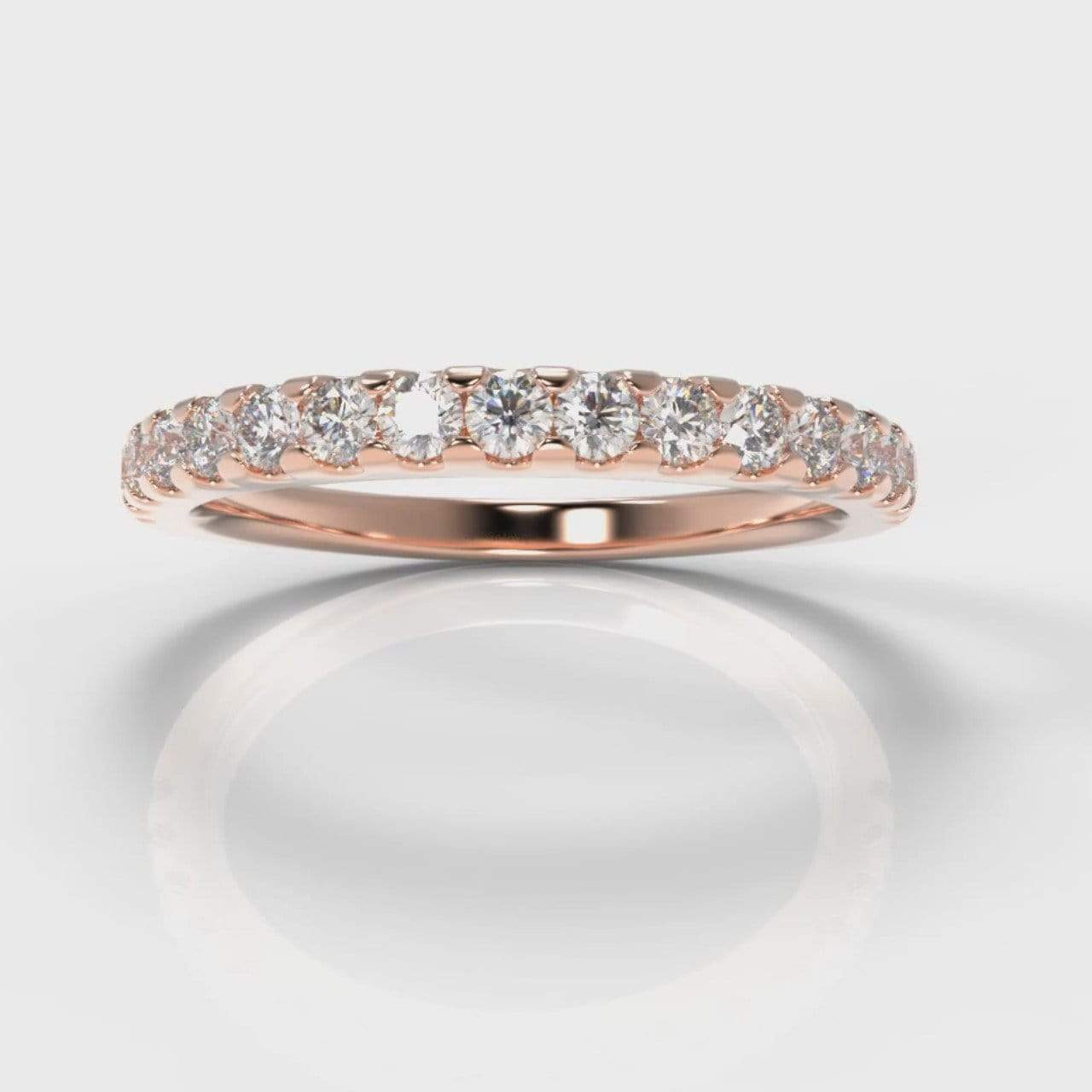 Castle Set Lab Diamond Wedding Band - Rose Gold-Wedding Ring-Pure Carats-Pure Carats