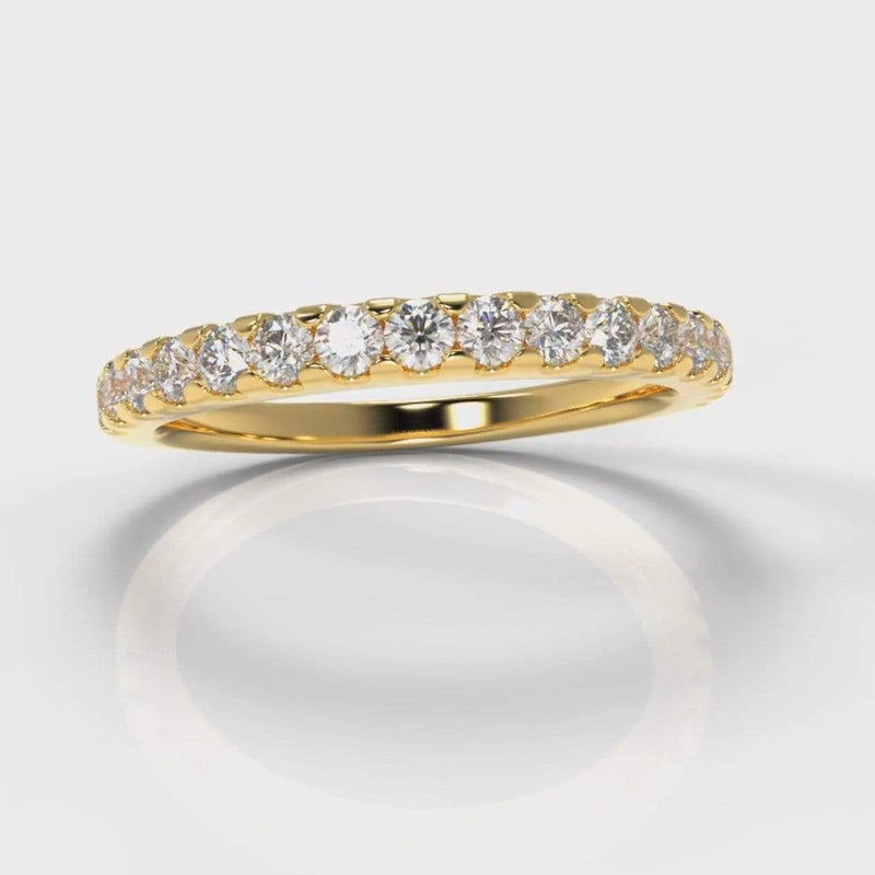 Castle Set Lab Diamond Wedding Band - Yellow Gold-Wedding Ring-Pure Carats-Pure Carats