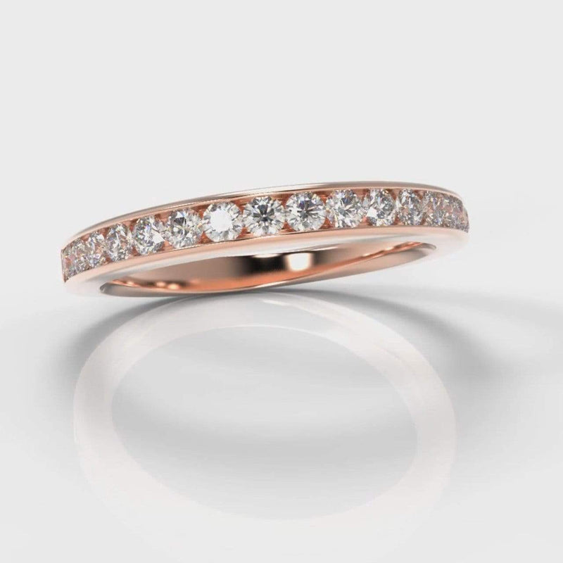 Channel Set Lab Diamond Wedding Band - Rose Gold-Wedding Ring-Pure Carats-Pure Carats