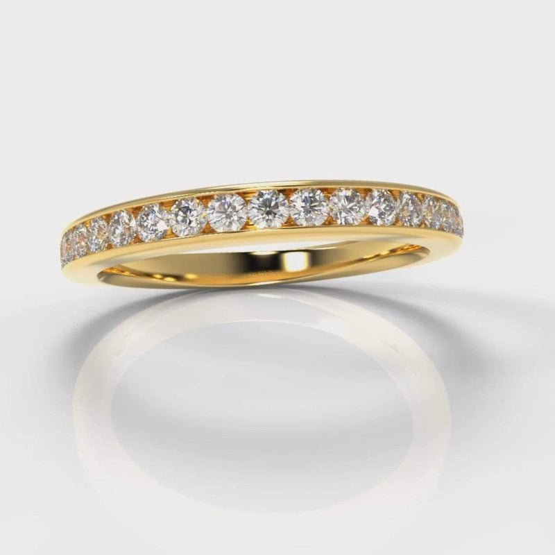 Channel Set Lab Diamond Wedding Band - Yellow Gold-Wedding Ring-Pure Carats-Pure Carats