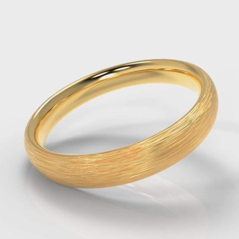 Classic Court Comfort Fit Brushed Wedding band - 4mm wide - Yellow Gold-Wedding Ring-Pure Carats-Pure Carats