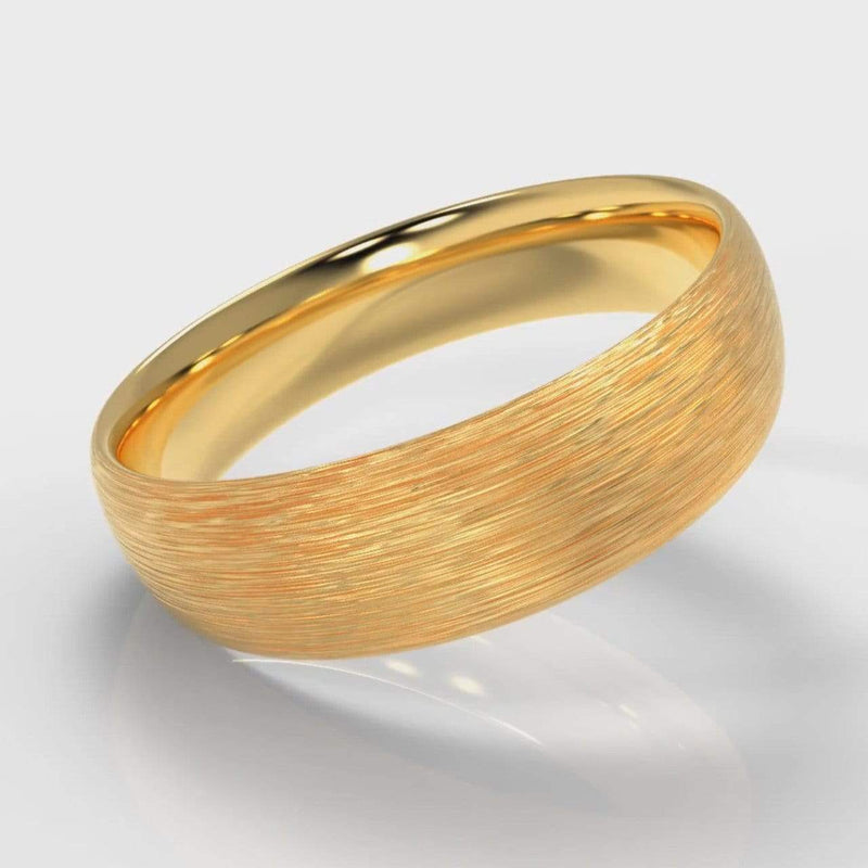 Classic Court Comfort Fit Brushed Wedding Band - 6mm wide - Yellow Gold-Wedding Ring-Pure Carats-Pure Carats