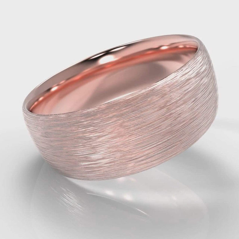 Classic Court Comfort Fit Brushed Wedding Band - 8mm wide - Rose Gold-Wedding Ring-Pure Carats-Pure Carats