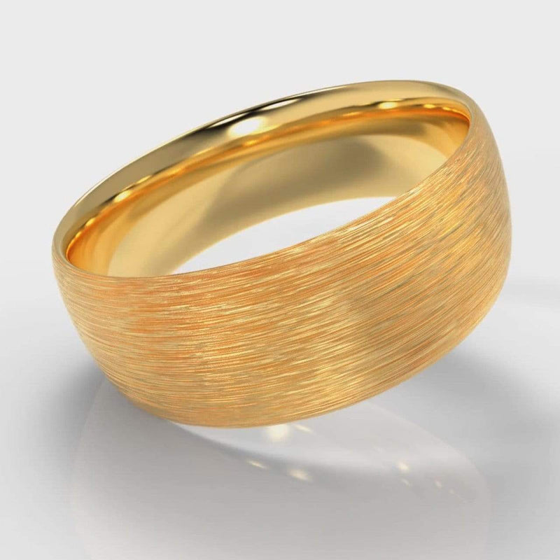 Classic Court Comfort Fit Brushed Wedding Band - 8mm wide - Yellow Gold-Wedding Ring-Pure Carats-Pure Carats