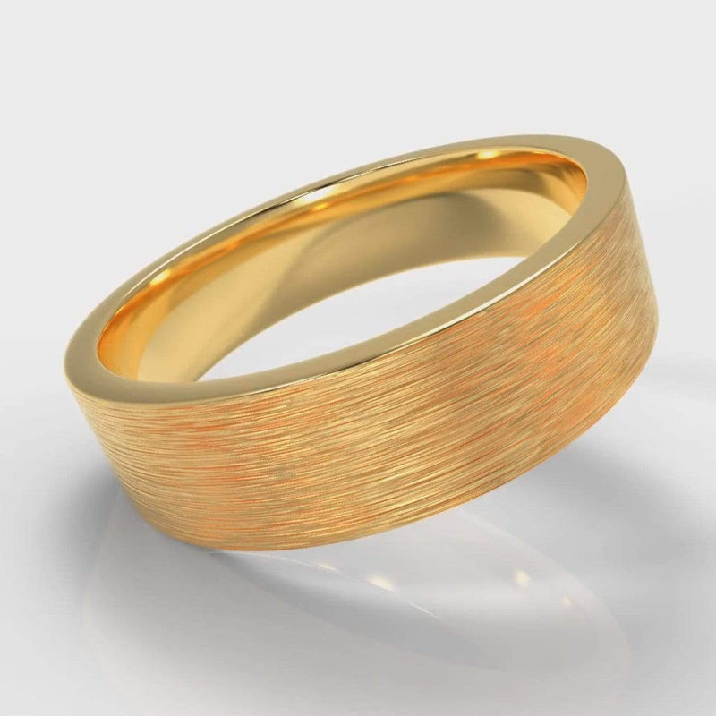 Classic Flat Court Comfort Fit Brushed Wedding Band - 6mm wide - Yellow Gold-Wedding Ring-Pure Carats-Pure Carats