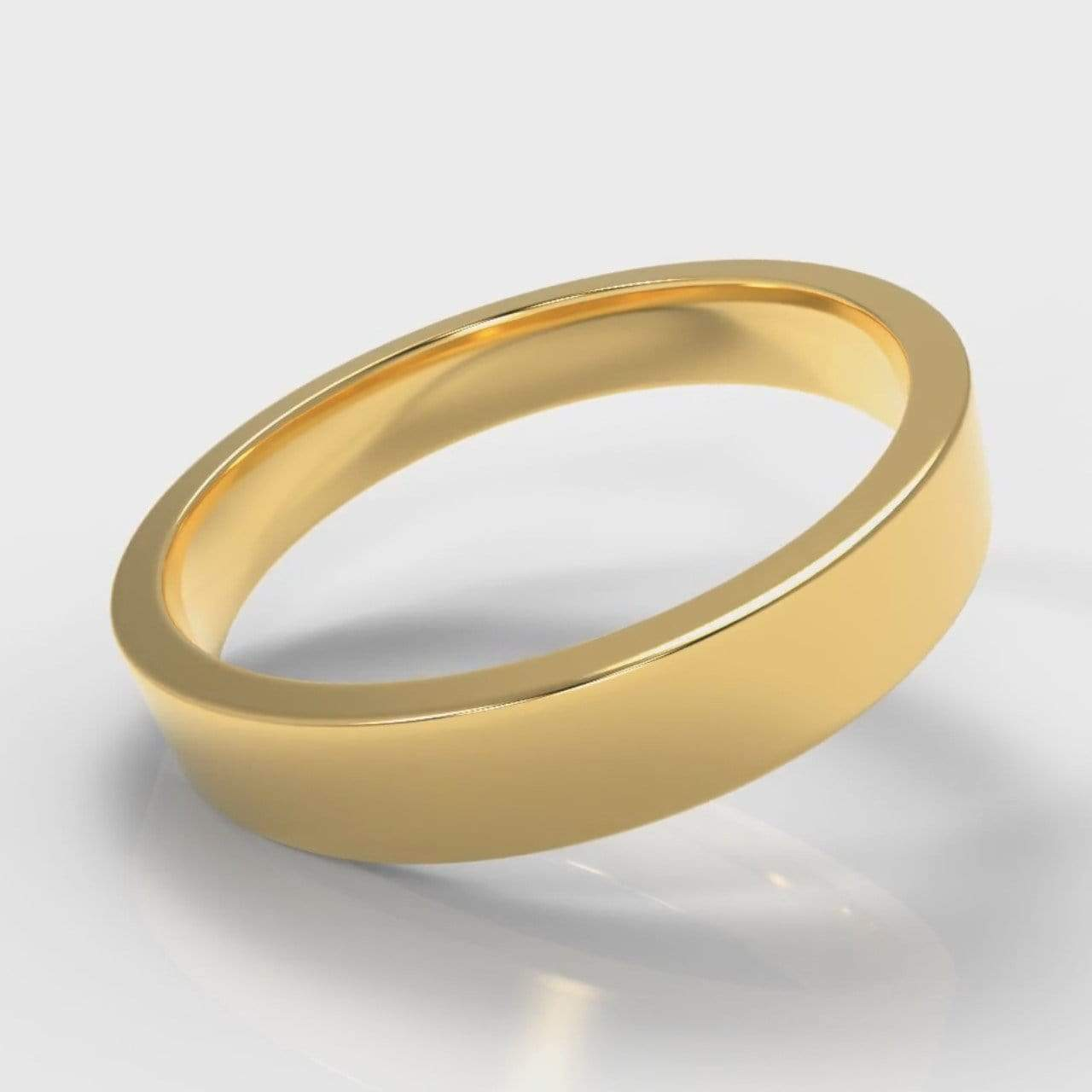 Classic Flat Court Comfort Fit Wedding Band - 4mm wide - Yellow Gold-Wedding Ring-Pure Carats-Pure Carats