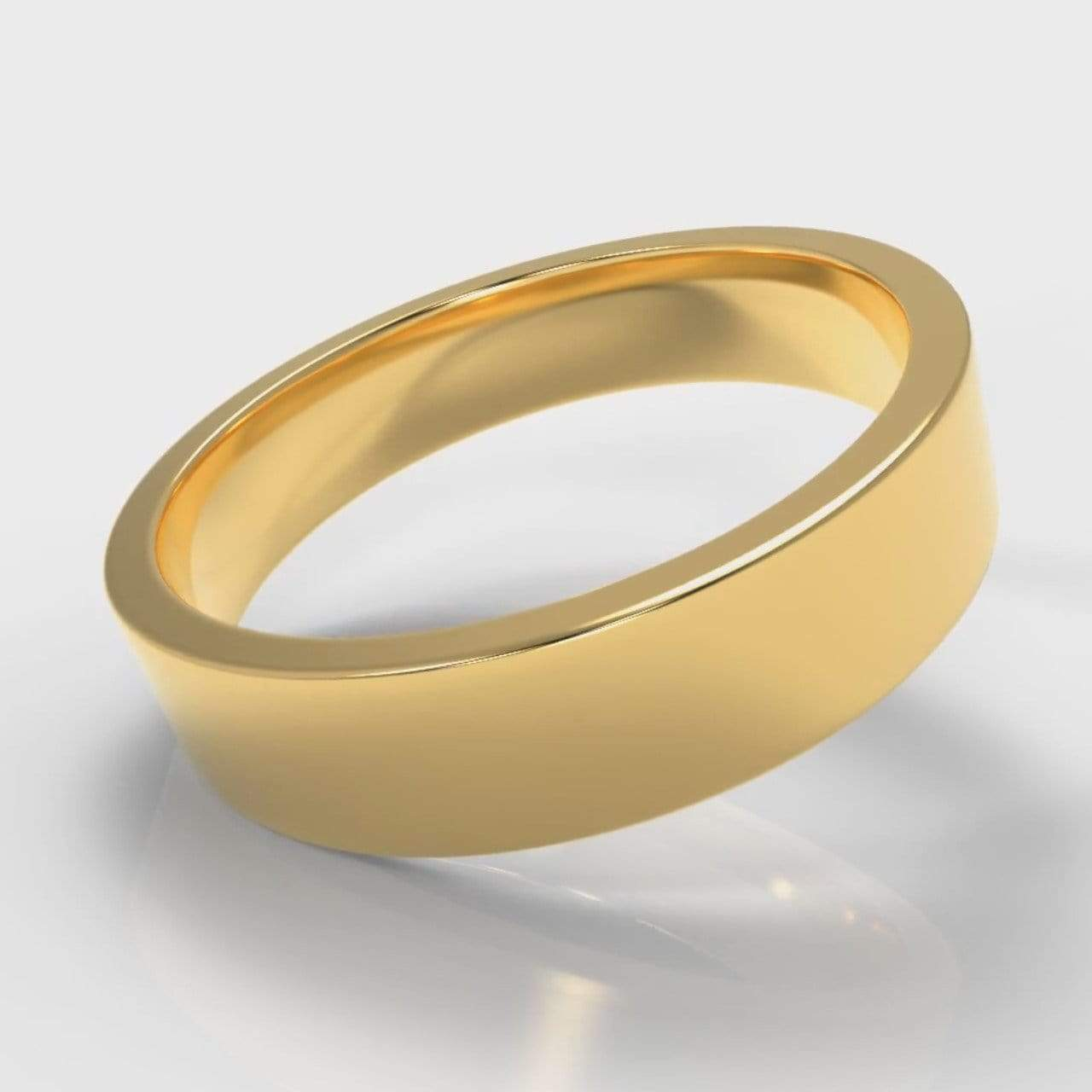 Classic Flat Court Comfort Fit Wedding Band - 5mm wide - Yellow Gold-Wedding Ring-Pure Carats-Pure Carats