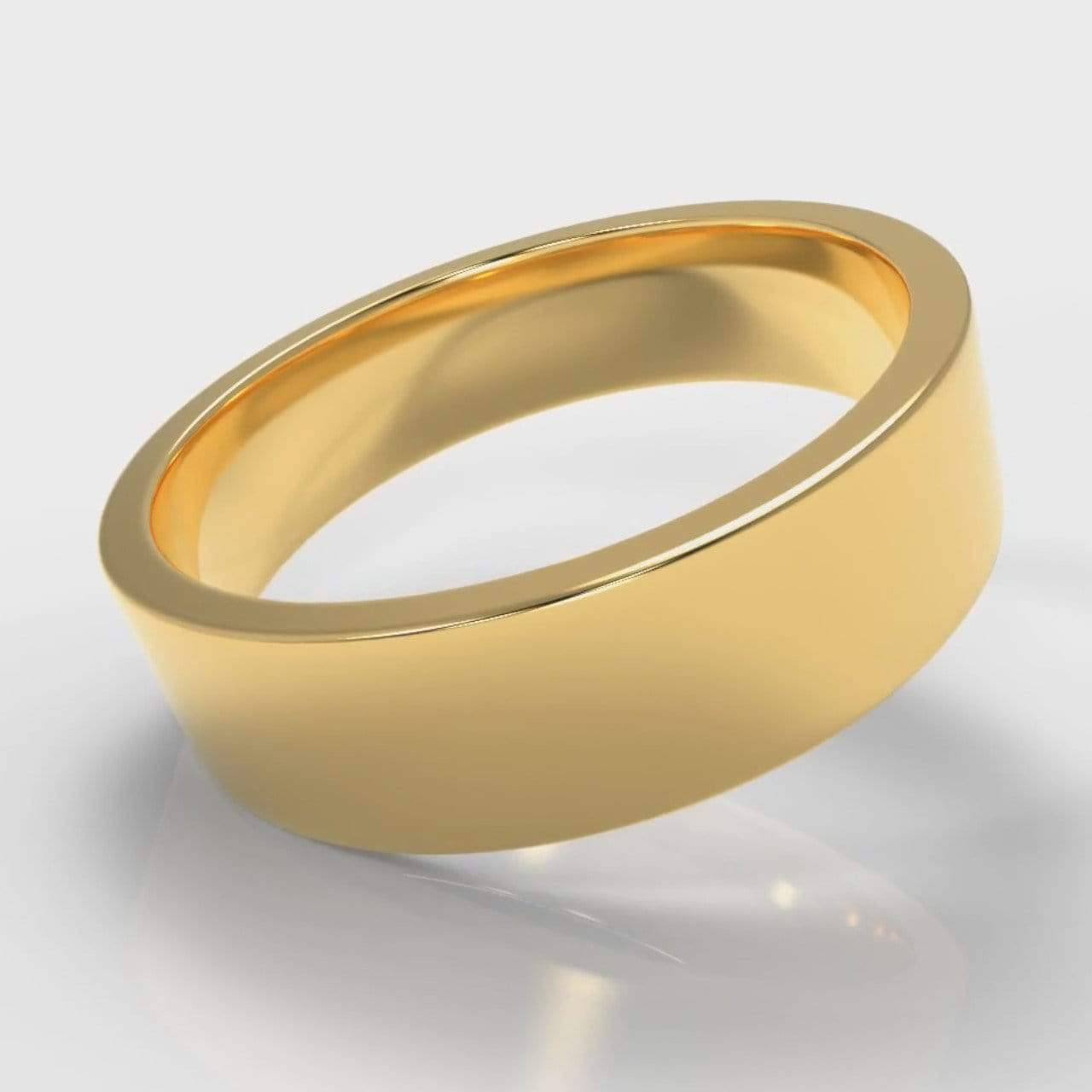 Classic Flat Court Comfort Fit Wedding Band - 6mm wide - Yellow Gold-Wedding Ring-Pure Carats-Pure Carats