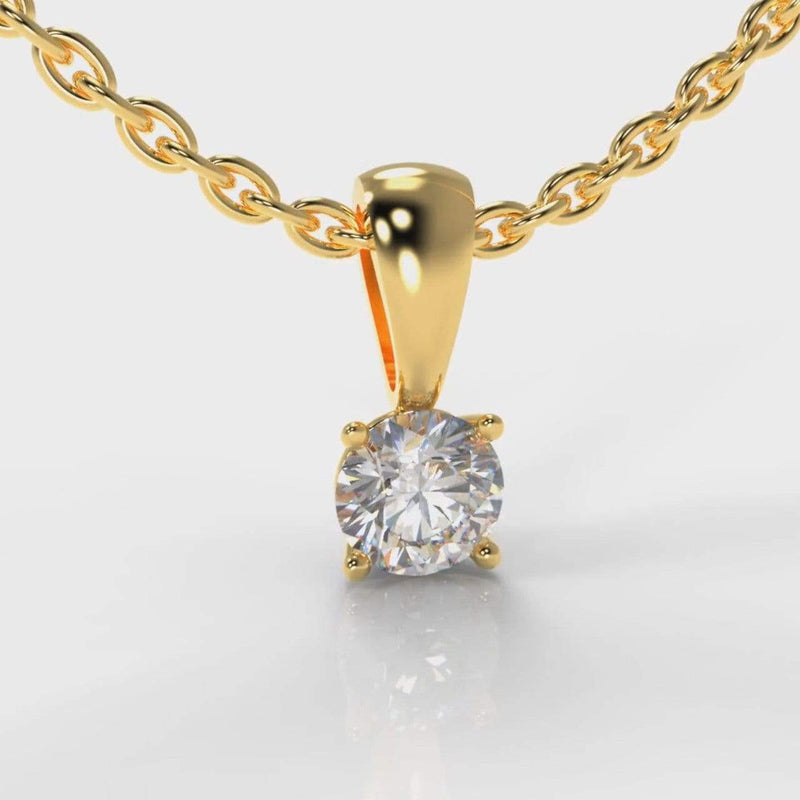Classic Four Claw Lab Diamond Pendant - Yellow Gold-Pendant-Pure Carats-Pure Carats
