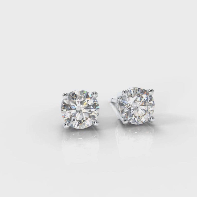 Classic Four Claw Lab Diamond Stud Earrings-Earrings-Pure Carats-Pure Carats