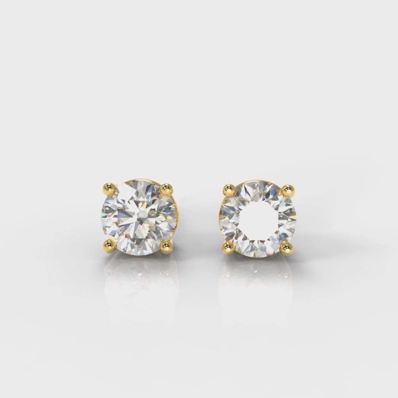 Classic Four Claw Lab Diamond Stud Earrings - Yellow Gold-Earrings-Pure Carats-Pure Carats