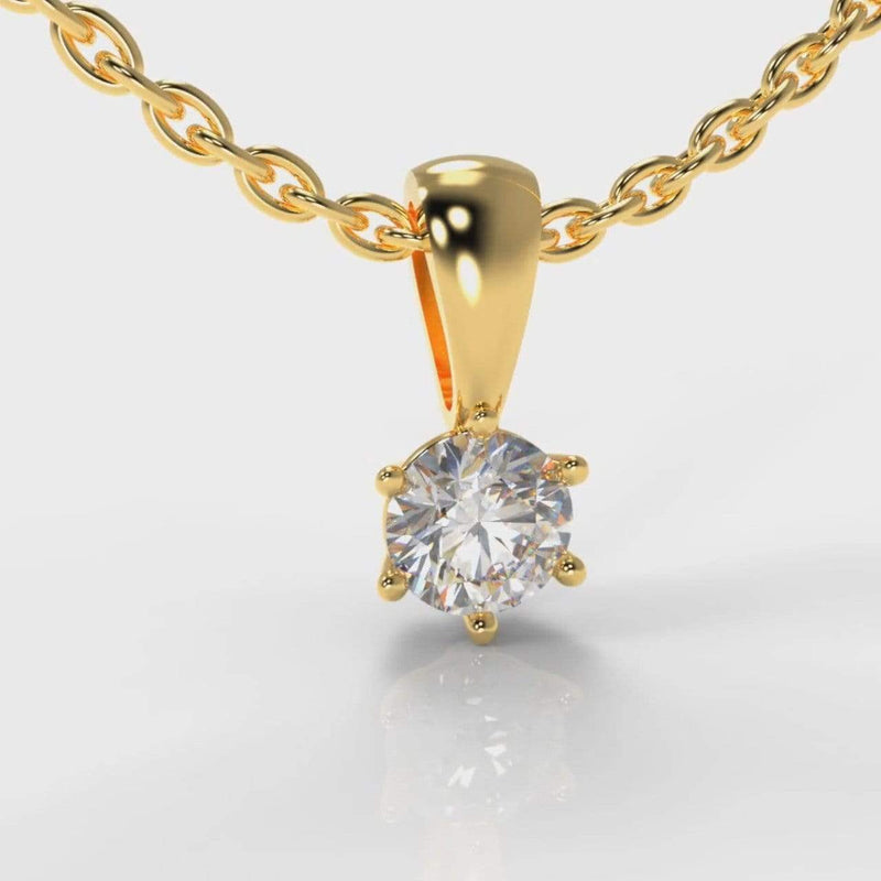 Classic Six Claw Lab Diamond Pendant - Yellow Gold-Pure Carats-Pure Carats