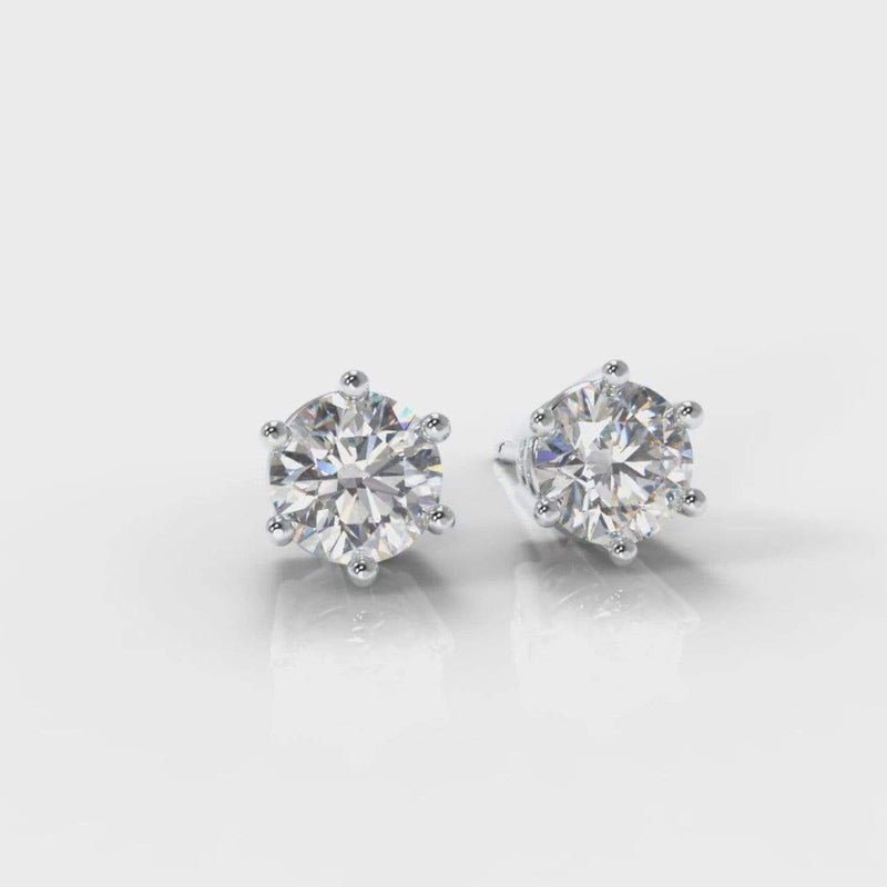 Classic Six Claw Lab Diamond Stud Earrings-Earrings-Pure Carats-Pure Carats