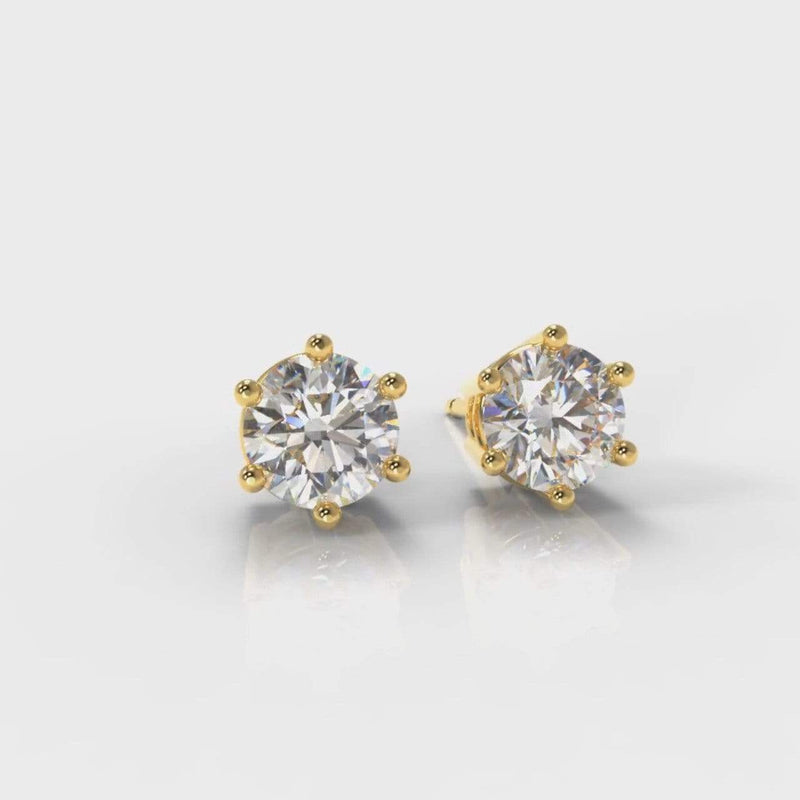 Classic Six Claw Lab Diamond Stud Earrings - Yellow Gold-Earrings-Pure Carats-Pure Carats