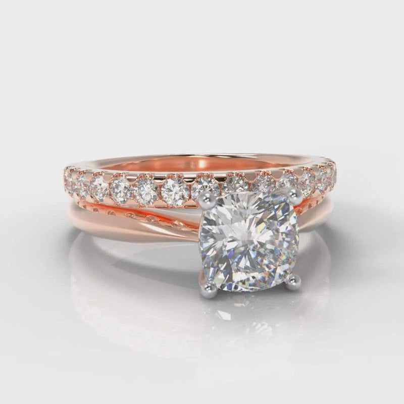 Classic Solitaire Cushion Cut Lab Diamond Bridal Ring Set - Rose Gold-Ring Setting-Pure Carats-Pure Carats