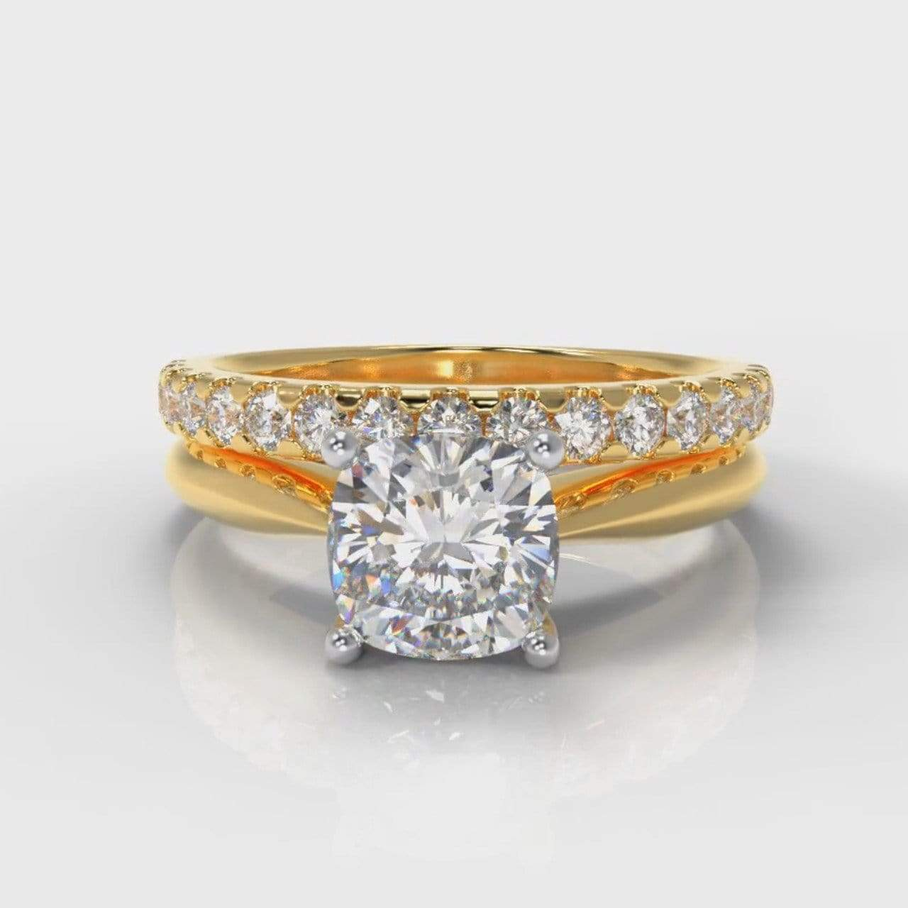 Classic Solitaire Cushion Cut Lab Diamond Bridal Ring Set - Yellow Gold