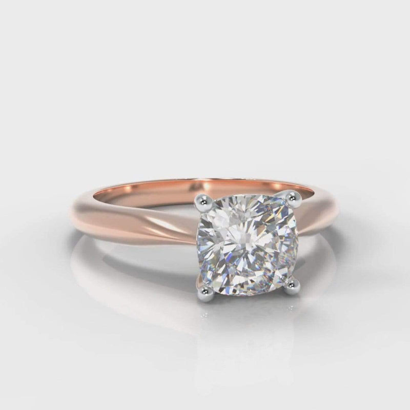 Classic Solitaire Cushion Cut Lab Diamond Engagement Ring - Rose Gold-Ring Setting-Pure Carats-Pure Carats