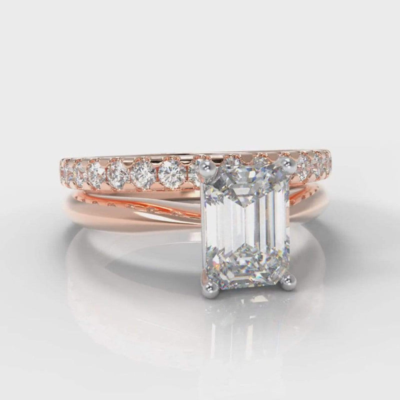 Classic Solitaire Emerald Cut Lab Diamond Bridal Ring Set - Rose Gold-Ring Setting-Pure Carats-Pure Carats