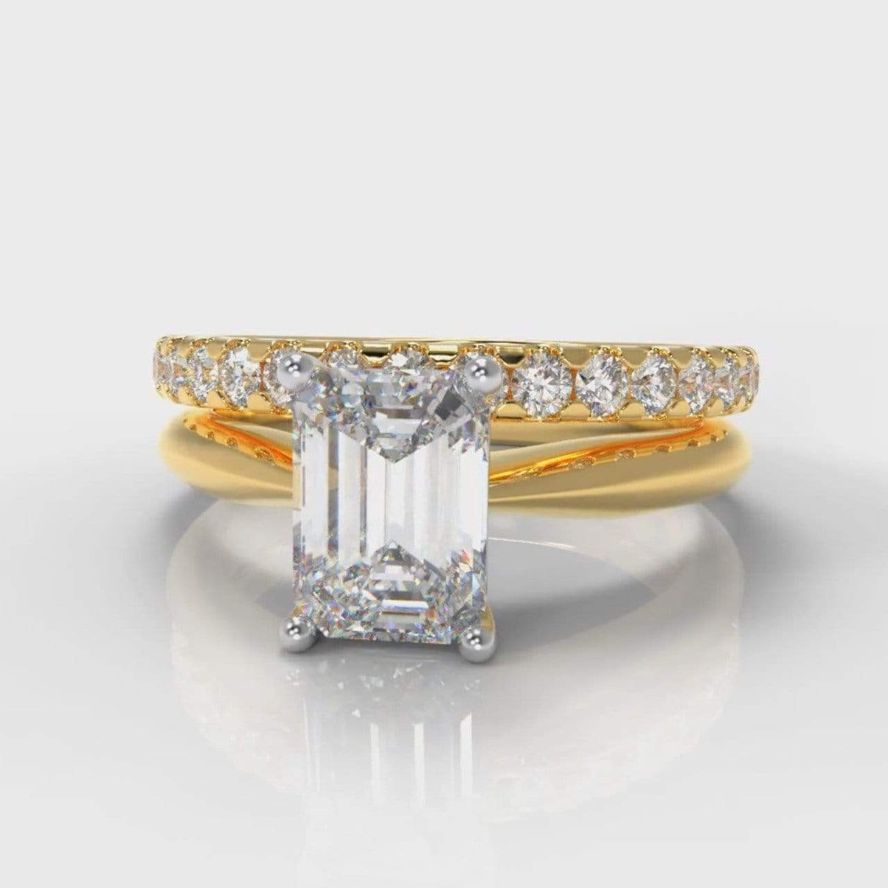 Classic Solitaire Emerald Cut Lab Diamond Bridal Ring Set - Yellow Gold