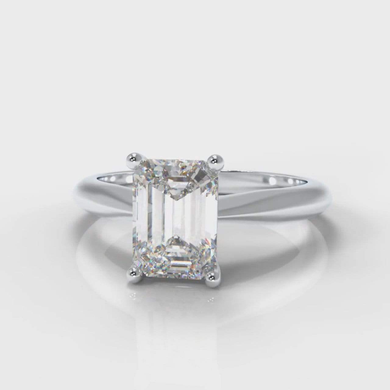 Classic Solitaire Emerald Cut Lab Diamond Engagement Ring