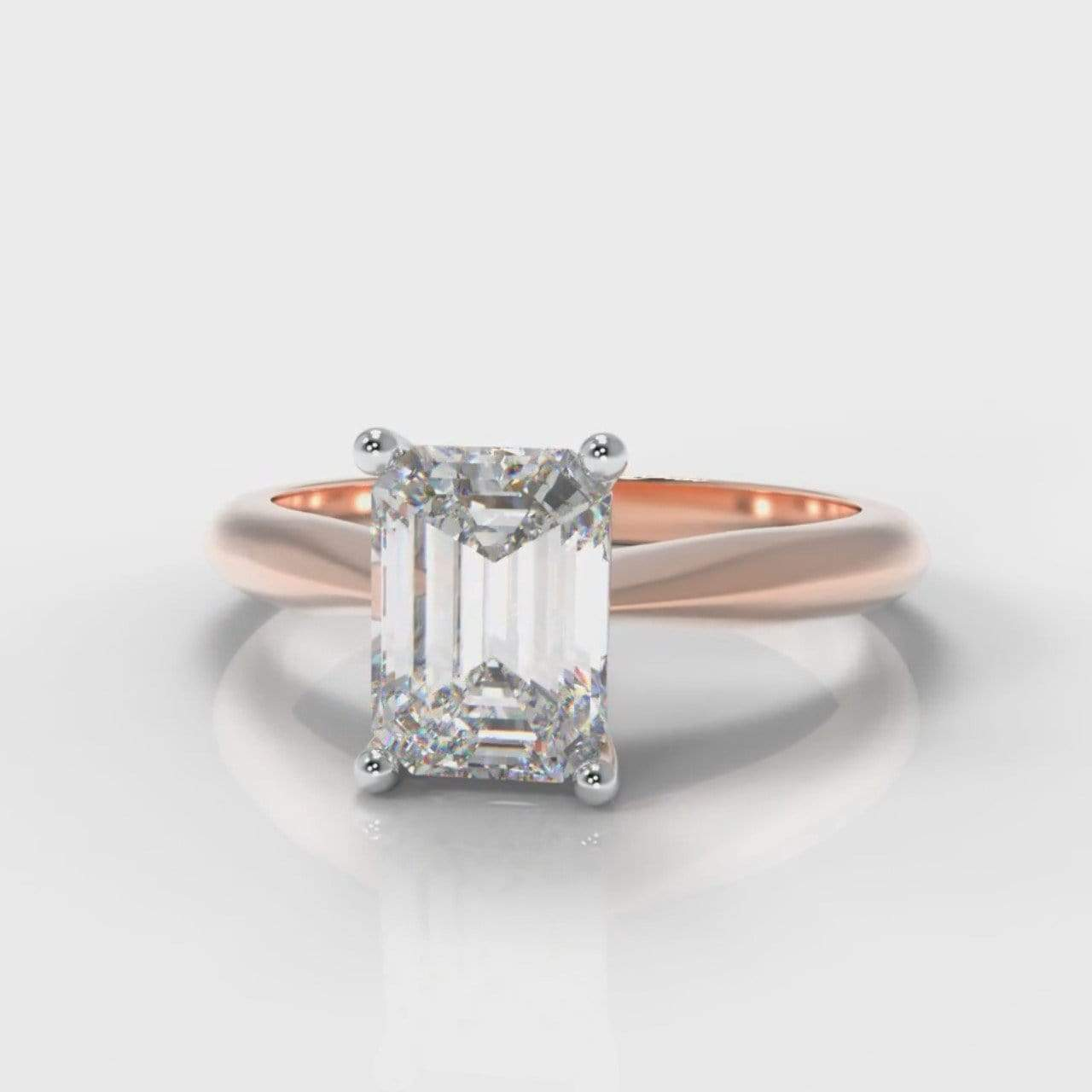 Classic Solitaire Emerald Cut Lab Diamond Engagement Ring - Rose Gold-Ring Setting-Pure Carats-Pure Carats
