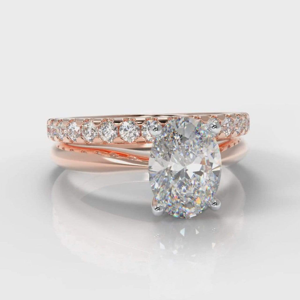 Classic Solitaire Oval Lab Diamond Bridal Ring Set - Rose Gold-Ring Setting-Pure Carats-Pure Carats
