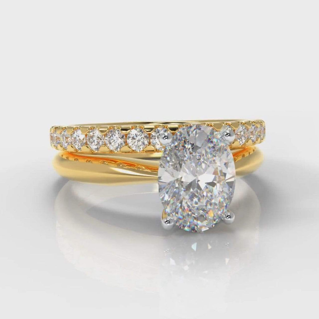 Classic Solitaire Oval Lab Diamond Bridal Ring Set - Yellow Gold-Ring Setting-Pure Carats-Pure Carats