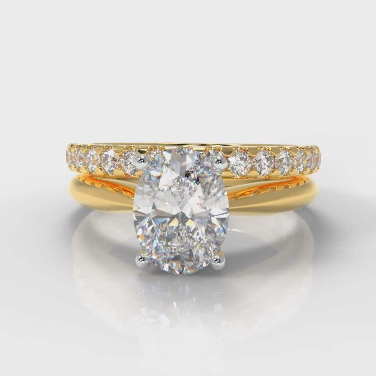 Classic Solitaire Oval Lab Diamond Bridal Ring Set - Yellow Gold