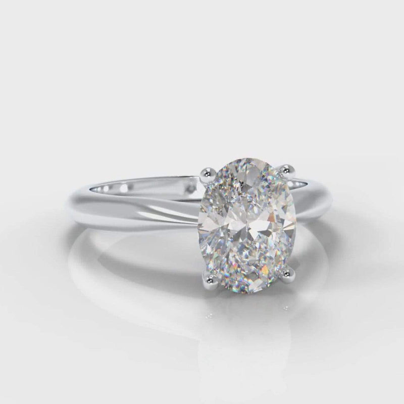 Classic Solitaire Oval Lab Diamond Engagement Ring-Ring Setting-Pure Carats-Pure Carats