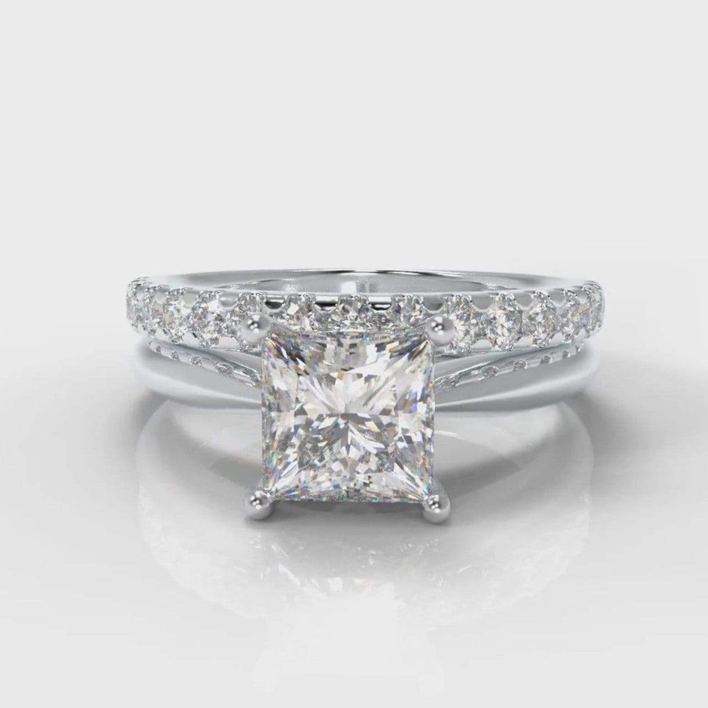 Classic Solitaire Princess Cut Lab Diamond Bridal Ring Set-Ring Setting-Pure Carats-Pure Carats